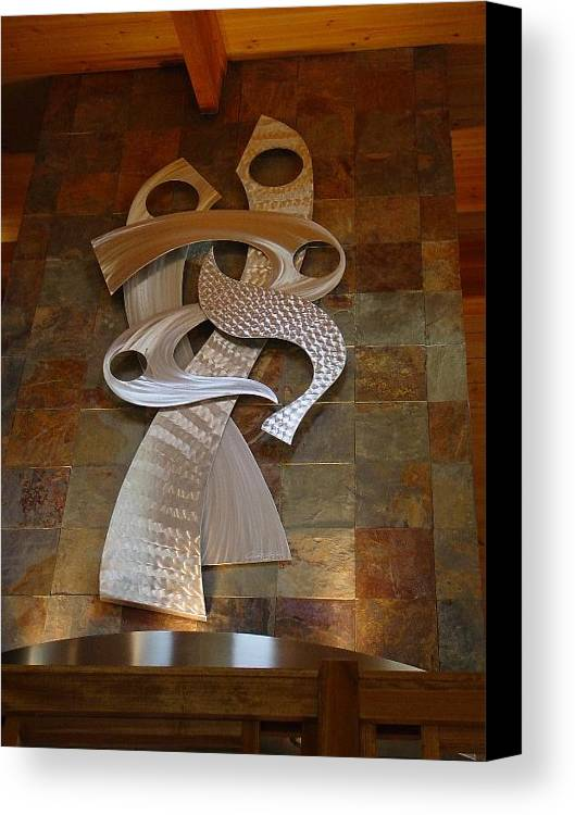 Aluminum Canvas Print featuring the sculpture Preforming Undressed by Mac Worthington
