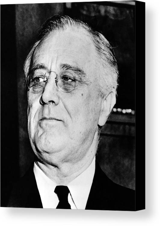Franklin Roosevelt Canvas Print featuring the photograph President Franklin Delano Roosevelt by War Is Hell Store