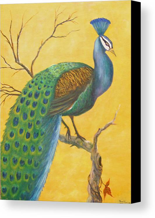 Peacock; Birds; Fall Leaves Canvas Print featuring the painting Proud As A Peacock by Ben Kiger