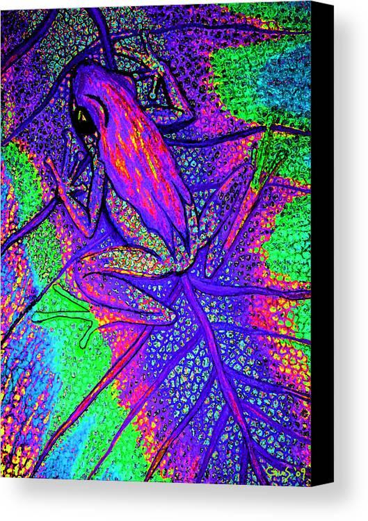 Psychodelic Tree Frog Art Canvas Print featuring the digital art Psychodelic Tree Frog by Nick Gustafson