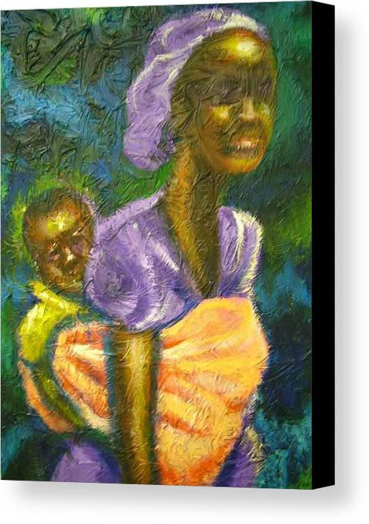 Mother And Child Canvas Print featuring the painting Safe And Secure by Jan Gilmore