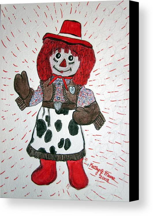 Raggedy Ann Canvas Print featuring the painting Raggedy Ann Cowgirl by Kathy Marrs Chandler