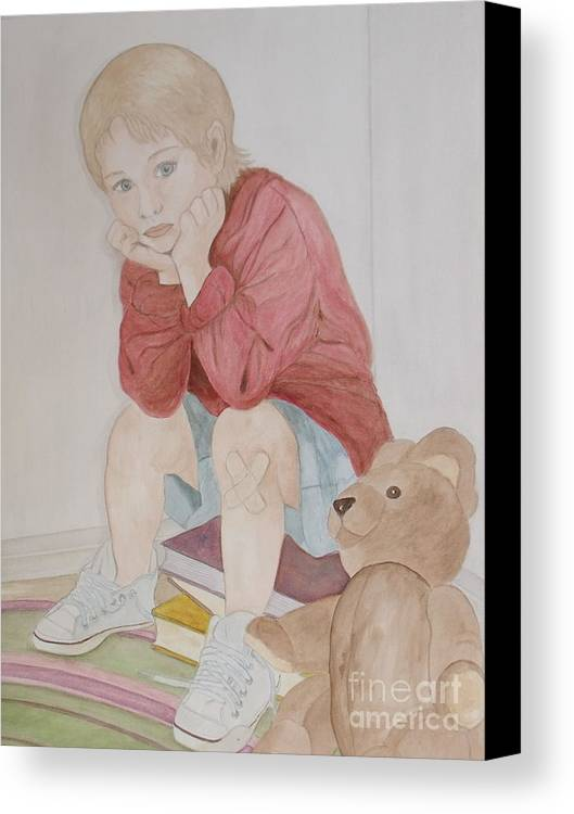 Boy Canvas Print featuring the painting Rainy Summer Day by Patti Lennox