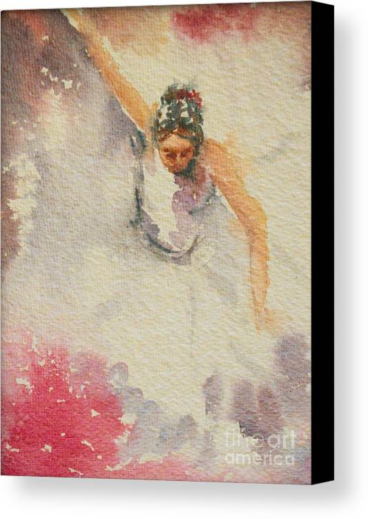 Swirling Skirt Canvas Print featuring the painting Rapture In Dance by Asha Sudhaker Shenoy