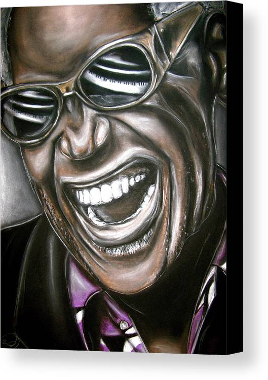 Ray Canvas Print featuring the drawing Ray Charles by Zach Zwagil