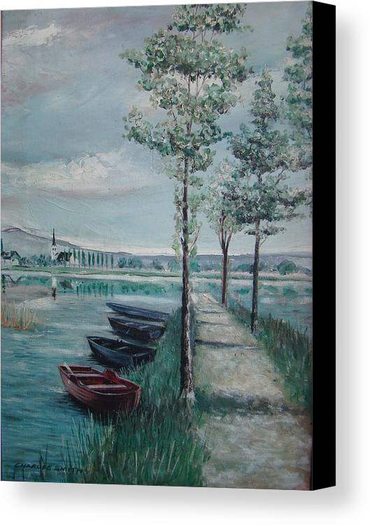 Boat Canvas Print featuring the painting Ready For Fishing by Charles Roy Smith
