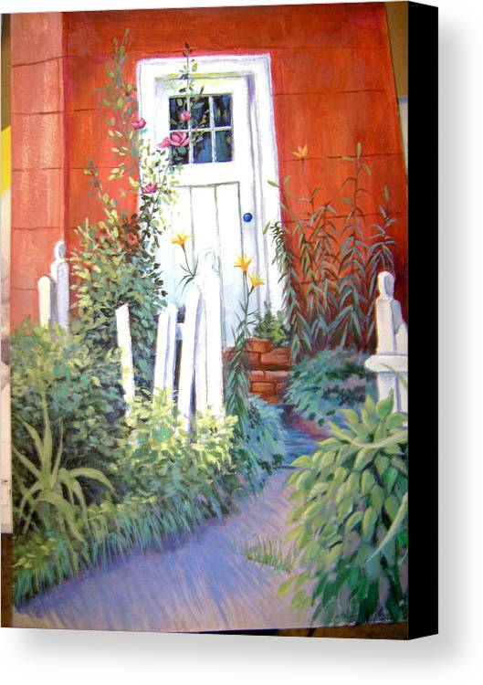 Landscape Canvas Print featuring the painting Red House by Judy Keefer