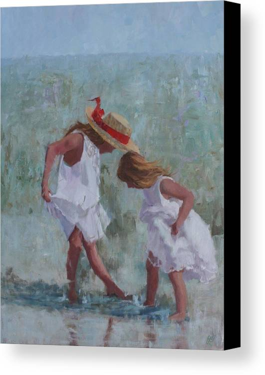 Beach Canvas Print featuring the painting Red Ribbon by Hope Reis