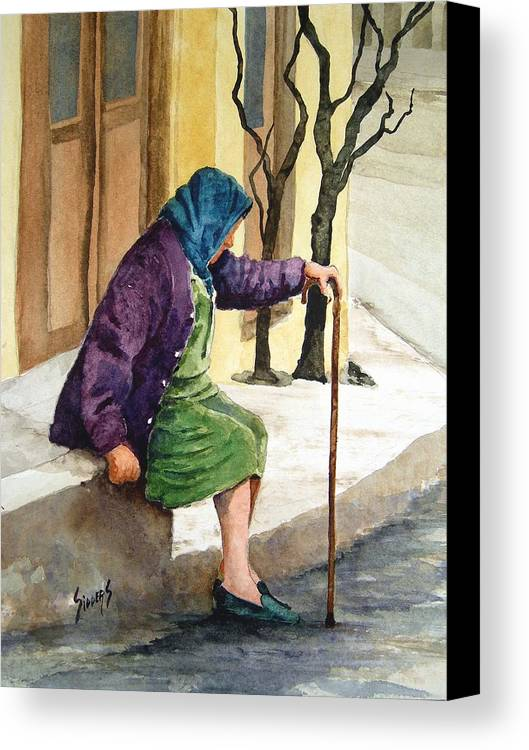 Old Lady Canvas Print featuring the painting Resting by Sam Sidders
