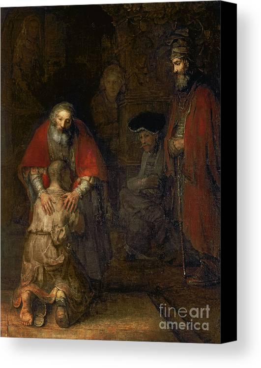 Return Canvas Print featuring the painting Return Of The Prodigal Son by Rembrandt Harmenszoon van Rijn