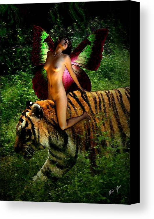Nude Canvas Print featuring the painting Riding The Tiger by Tray Mead