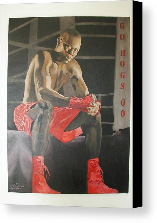 Portrait Canvas Print featuring the painting Ringside With Jermain by Angelo Thomas