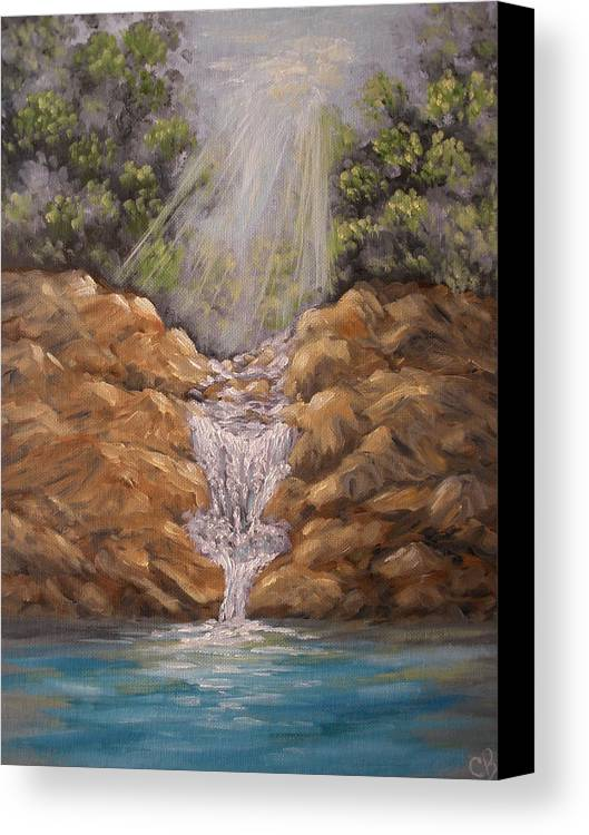 Waterfall Canvas Print featuring the painting Rockledge Falls by Carrie Mayotte