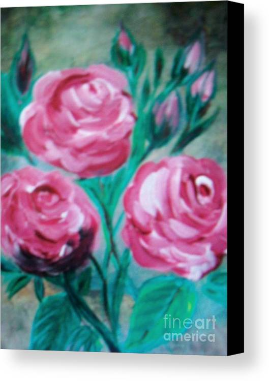 Flowers Pink Roses Canvas Print featuring the painting Roses by Teresa Nash