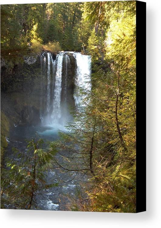 Waterfall Bend Oregon Sahalie Falls Mckenzie River Canvas Print featuring the photograph Sahalie Falls by Janet Hall