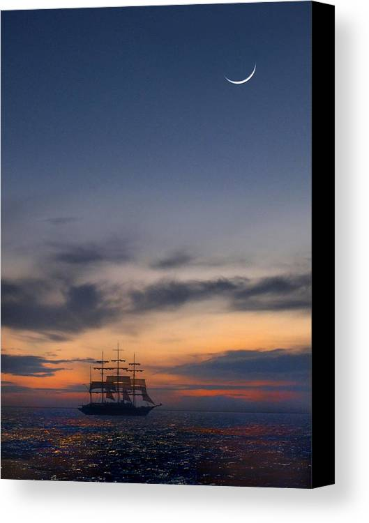 Sail Canvas Print featuring the photograph Sailing To The Moon by Mike McGlothlen