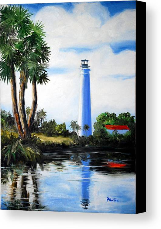 Light House Florida Saint Marks River Ocean Sea Palms Seacapes Canvas Print featuring the painting Saint Marks River Light House by Phil Burton