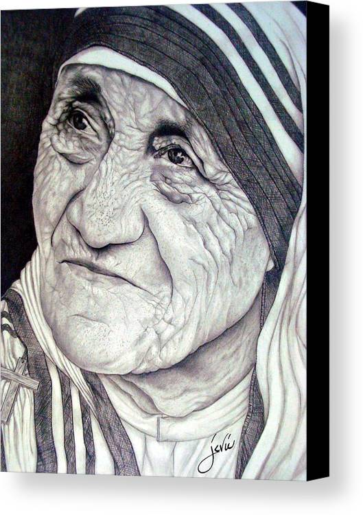 Mother Teresa Canvas Print featuring the drawing Mother Teresa Saint Of Calcutta by Jevie Stegner