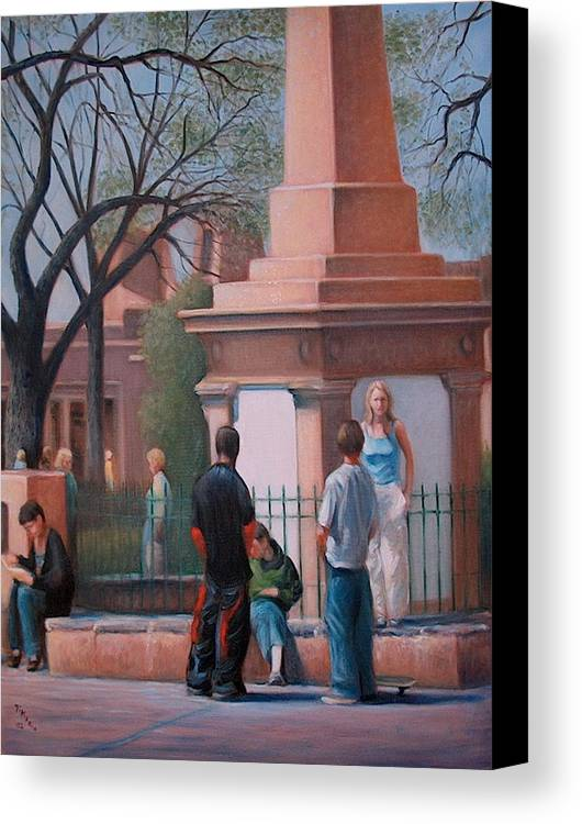 Realism Canvas Print featuring the painting Santa Fe Plaza by Donelli DiMaria