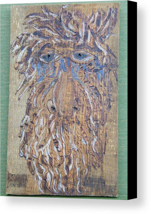 Woodburn Canvas Print featuring the pyrography Save My Trees by Margaret G Calenda