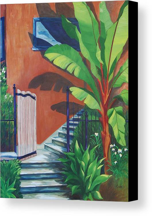 Garden Gate Canvas Print featuring the painting Secret Passage by Karen Dukes