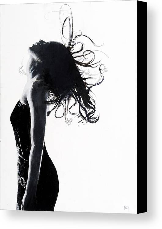 Art; Acrylic On Canvas; Black And White; B&w; Portrait; Woman; Hair; Wet Hair; Lighting; Dramatic; Dramatic Lighting; White Space; Negative Space; Stark; Linear; Sharp; Sharp Lines Canvas Print featuring the painting Serenity by Brian Atchley