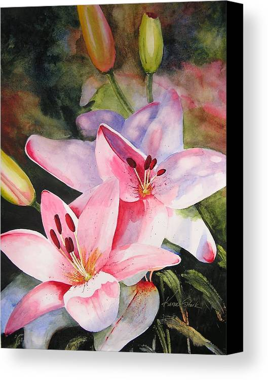 Lilies Canvas Print featuring the painting Shady Ladies by Karen Stark
