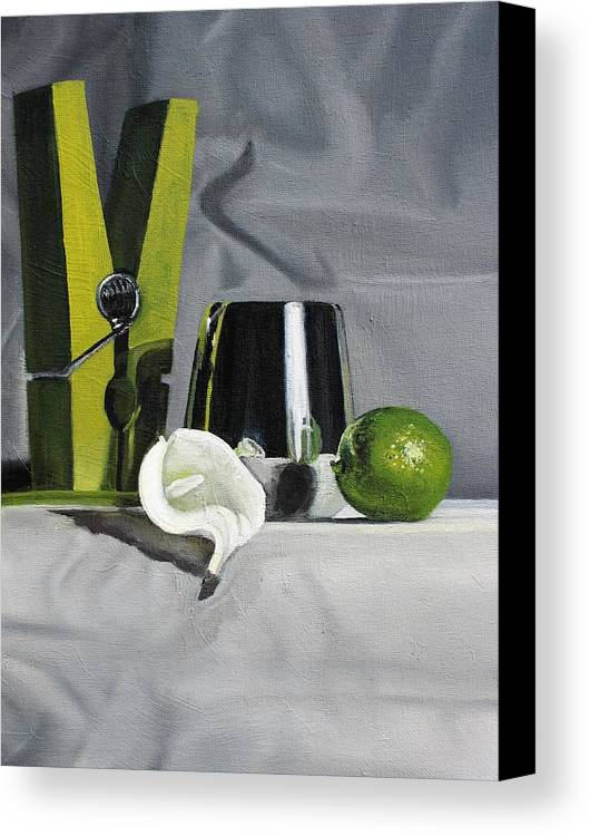 Clothes Pin Canvas Print featuring the painting Shine by Margaret Marzullo