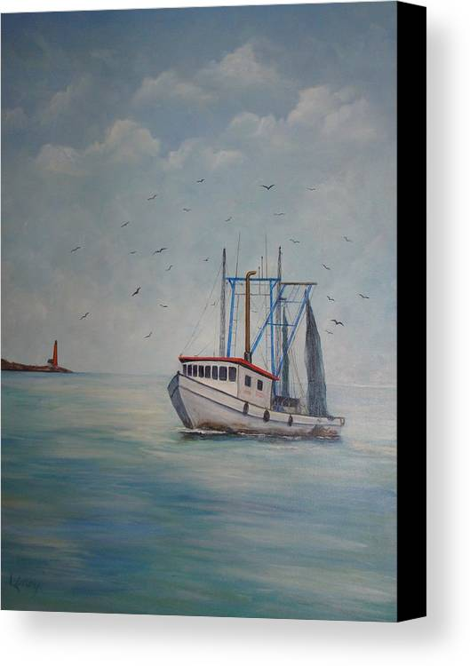 Shrimp Boat Canvas Print featuring the painting Shrimp Boat by Carolyn Speer