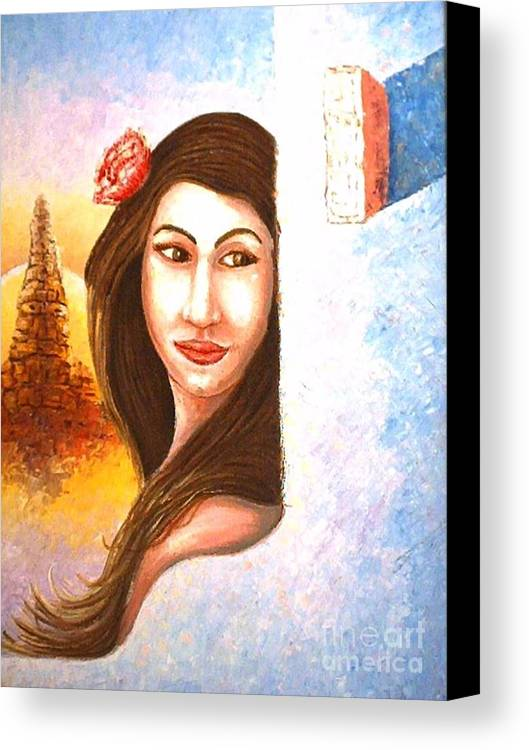 Portrait Canvas Print featuring the painting Shy Thoughts by Santiago Chavez