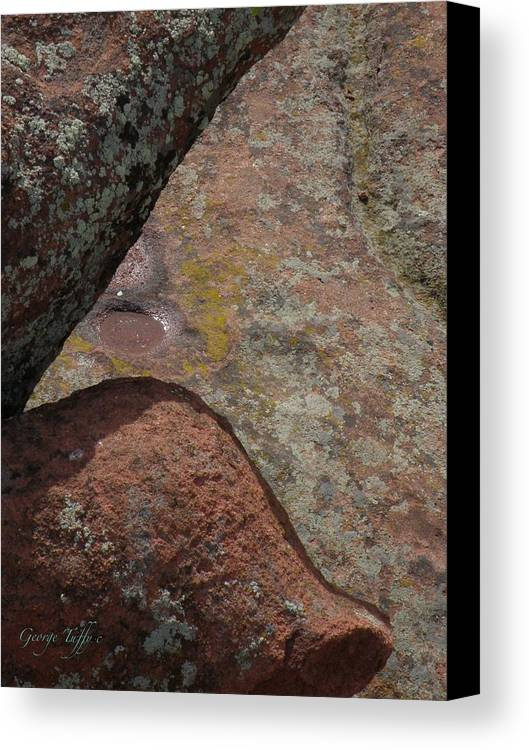 Red Rocks Lichen Rock Forms Colorado Simple Zen Design Art Canvas Print featuring the photograph Simple Shapes by George Tuffy