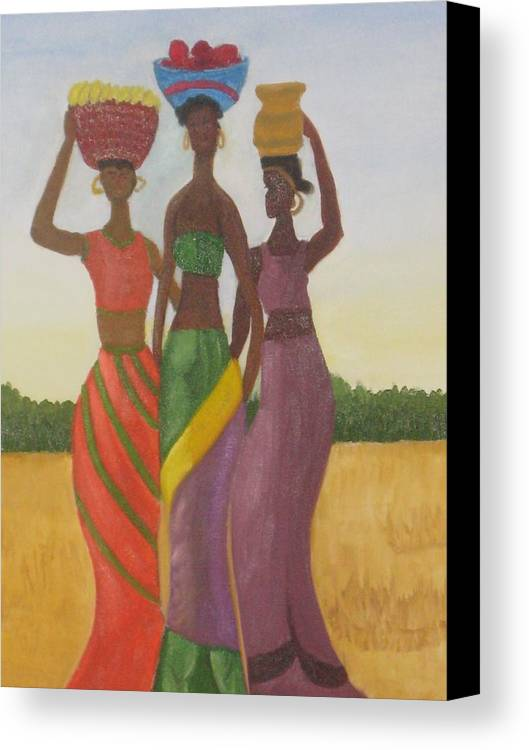 Women Canvas Print featuring the painting Sisters by AVK Arts
