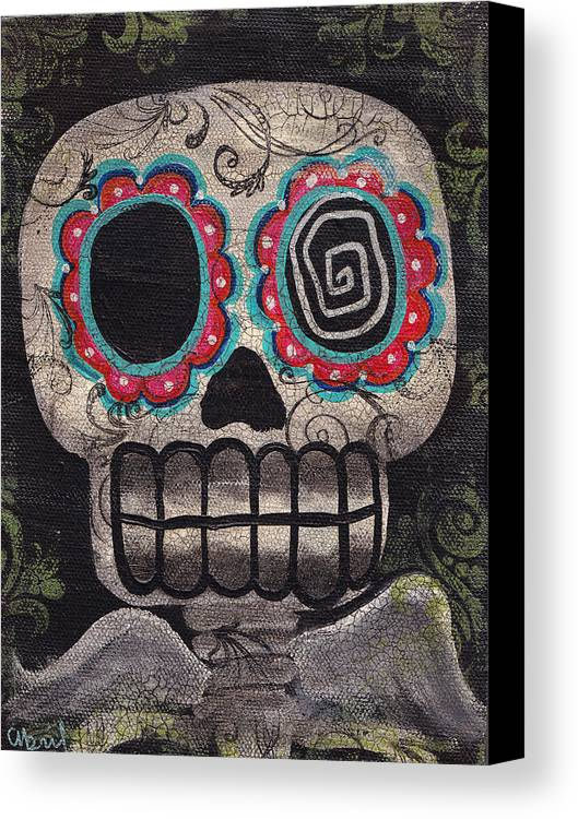 Skull Canvas Print featuring the painting Skull Angel by Abril Andrade Griffith