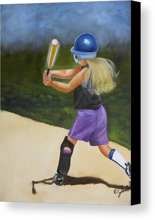 Child Canvas Print featuring the painting Slugger by Joni McPherson