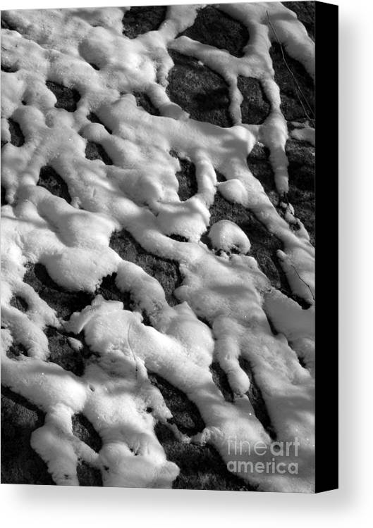 Black And White Canvas Print featuring the photograph Snow People by Chad Natti