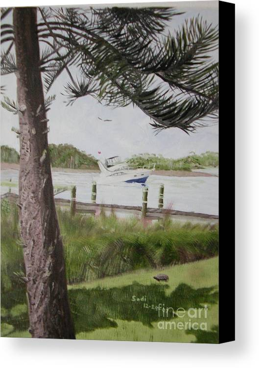Landscape Canvas Print featuring the painting Some Enjoy The Journey - Left Side by Sodi Griffin