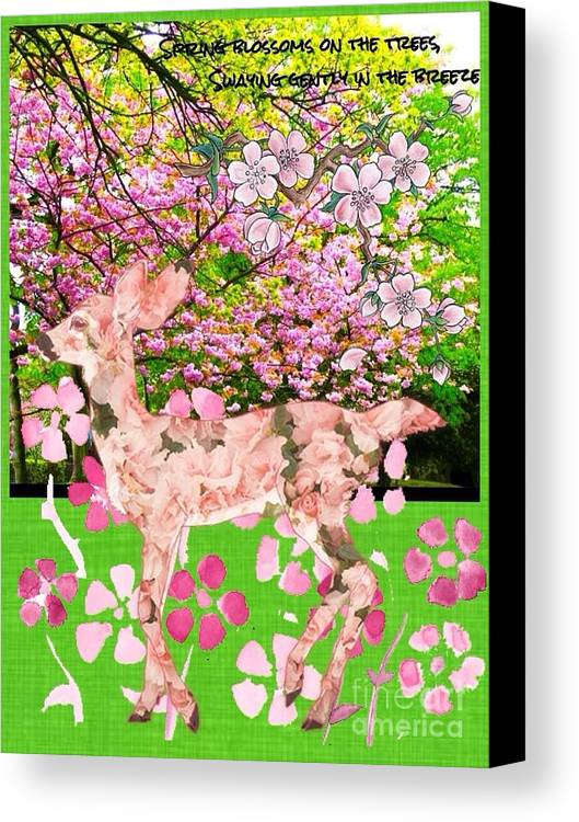 Deers Canvas Print featuring the photograph Spring Greeting With Poem by Joan-Violet Stretch