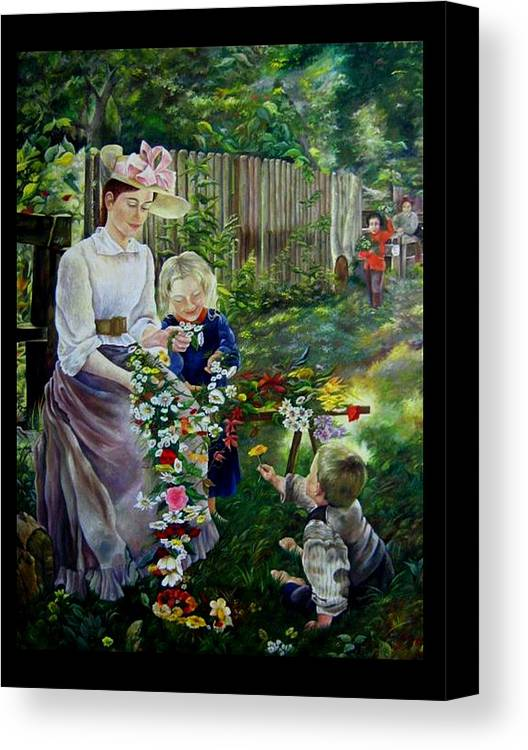 Nature And Faces - Persons Canvas Print featuring the painting Spring Idyll by Netka Dimoska