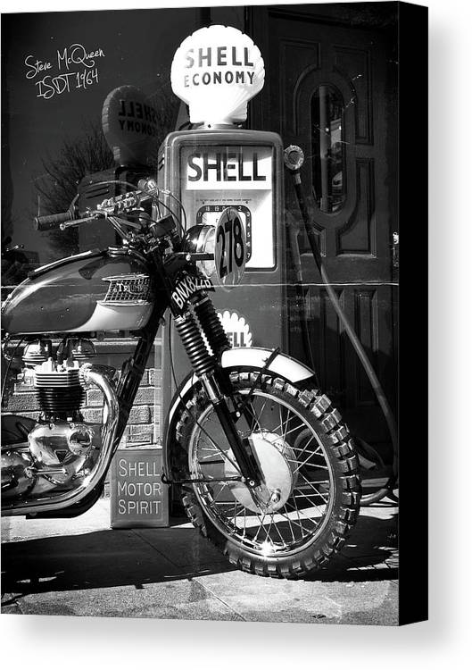Steve Mcqueen Canvas Print featuring the photograph Steve Mcqueen Isdt 64 by Mark Rogan