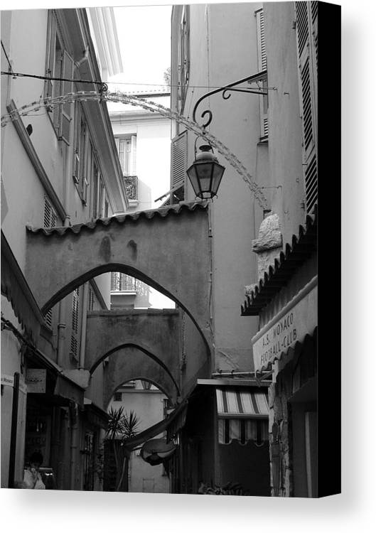 France Canvas Print featuring the photograph Streets Of Cannes 1 In Black And White by Holly Wolfe