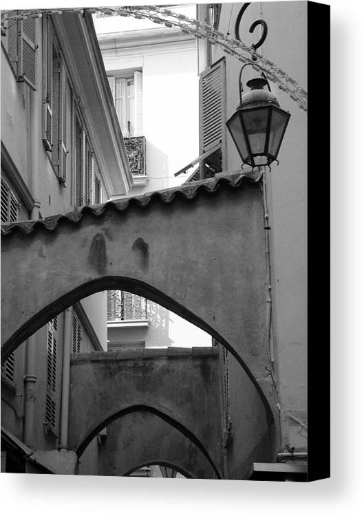France Canvas Print featuring the photograph Streets Of Cannes 2 In Black And White by Holly Wolfe