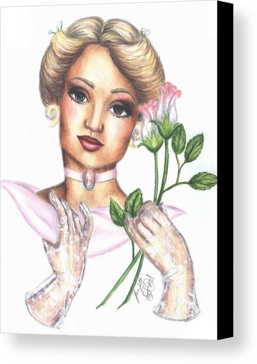 Portrait Canvas Print featuring the drawing Summer Rose by Scarlett Royal