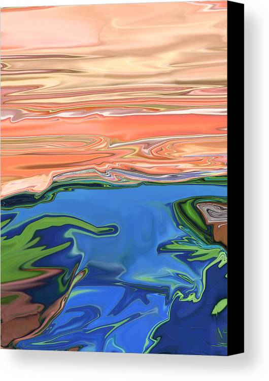 Sunset Canvas Print featuring the digital art Sunset River by Kate Collins