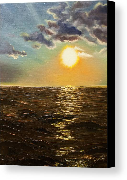 Romantic Canvas Print featuring the painting Sunset by Valentyna Pylypenko