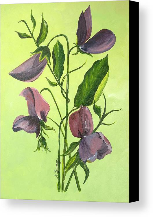 Flower Canvas Print featuring the painting Sweet Peas by Murielle Hebert