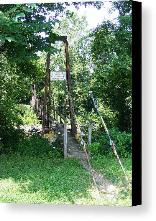 Bridge Canvas Print featuring the photograph Swinging Bridge by Eddie Armstrong