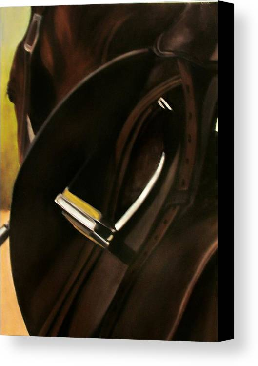 Horse Canvas Print featuring the painting Tacking Up by Donna Thomas