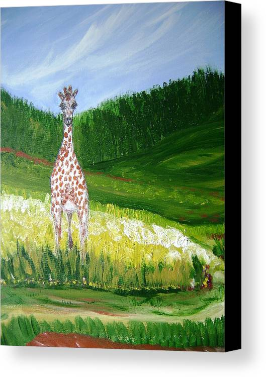 Giraffe Canvas Print featuring the painting Taking In The View by Laura Johnson