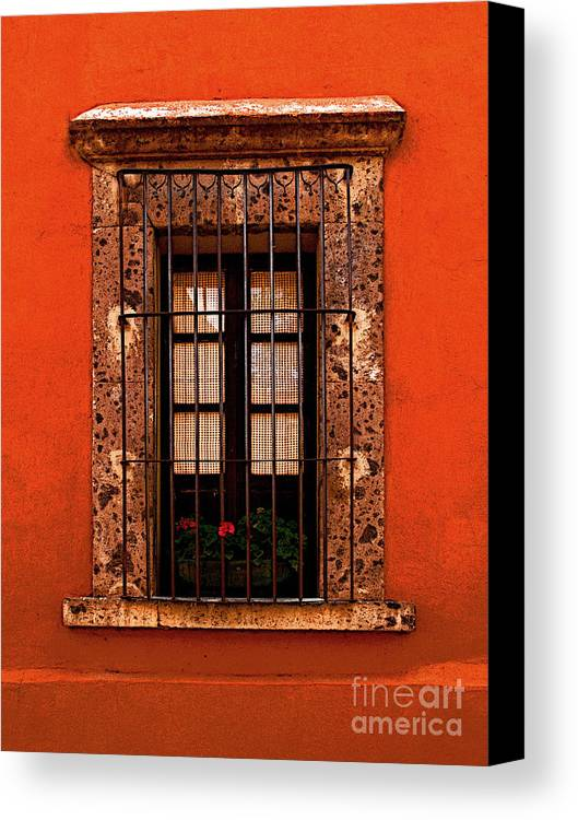 San Miguel De Allende Canvas Print featuring the photograph Tangerine Window by Mexicolors Art Photography