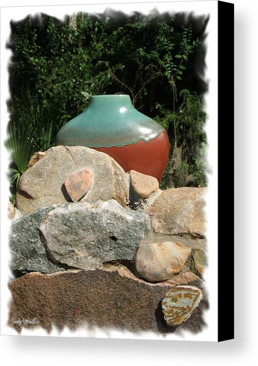 Landscape Canvas Print featuring the photograph Teal And Brown Clay Pot by Judy Waller